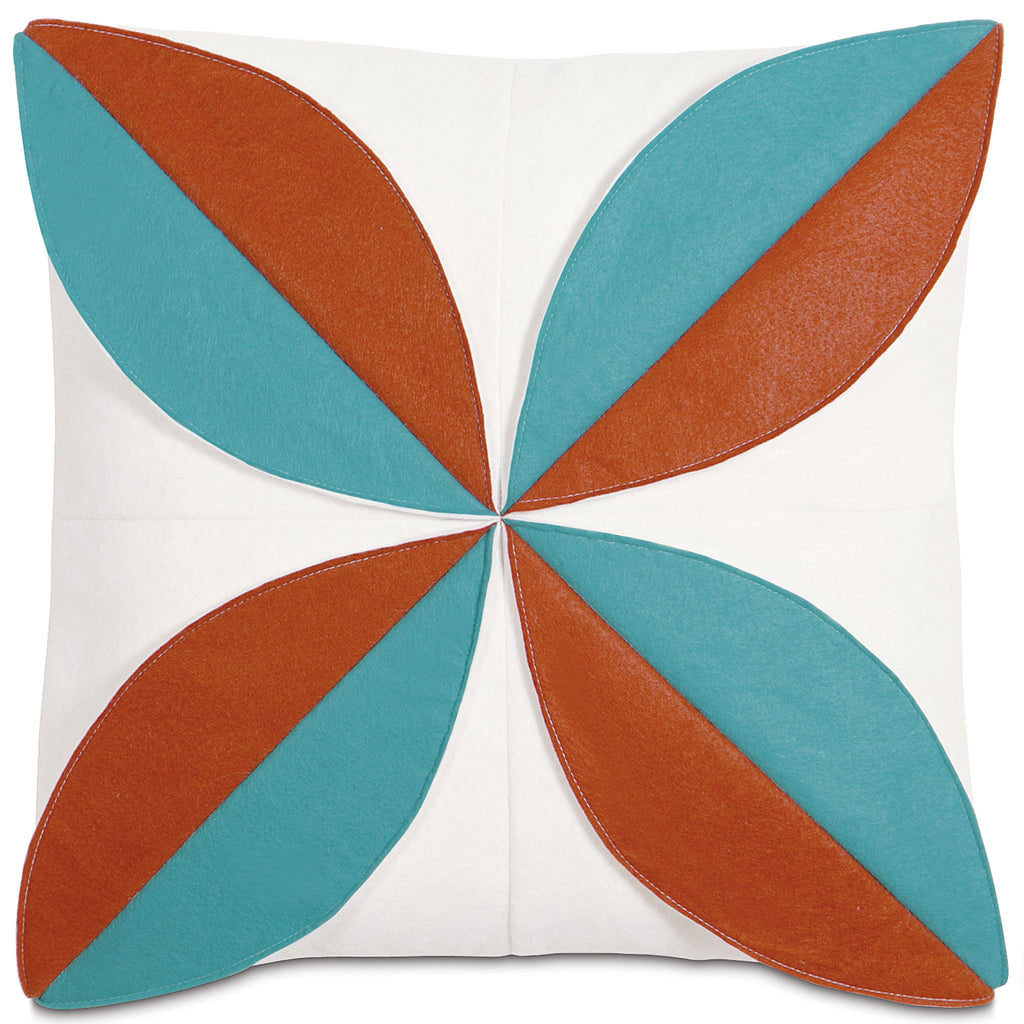 "Cinnamon and Teal Art Deco Style Decorative Pillow Cover 16"" x 16"""