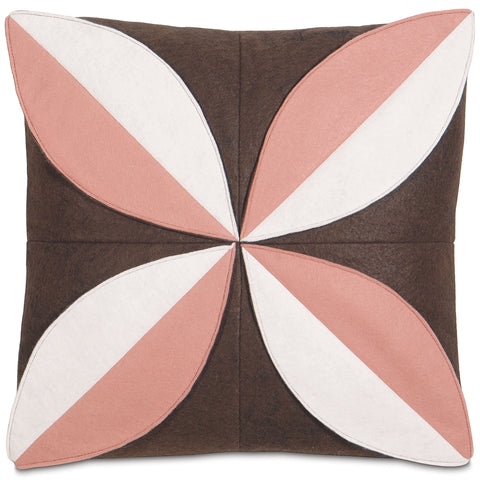 "Pink and White Blooming Petal Decorative Pillow Cover 16"" x 16"""