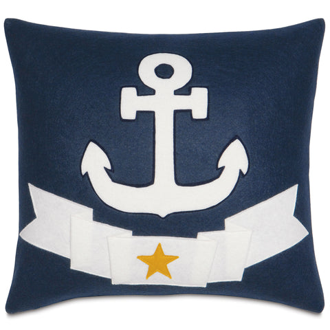"Navy Blue Anchor Decorative Pillow 18""x18"""