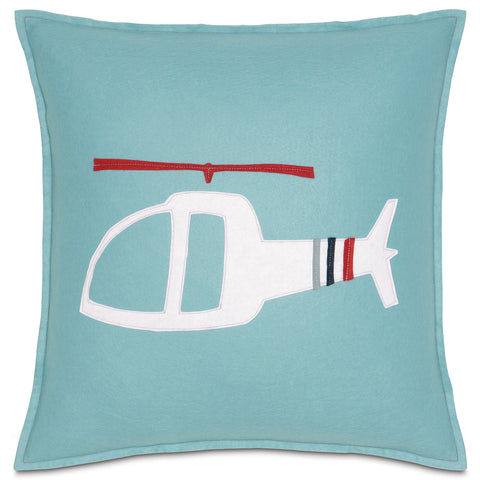"Helicopter Ride Decorative Felt Pillow Cover 18"" x 18"""