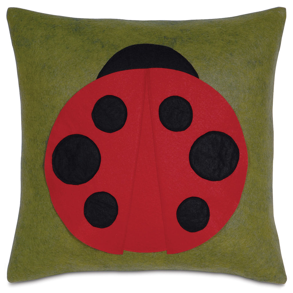 "Ladybug Applique Decorative Pillow 18""x18"""