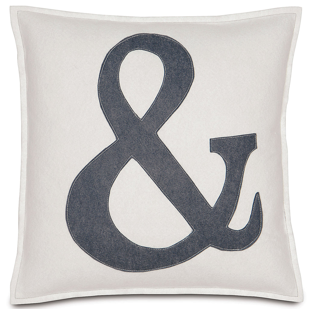 "Cream and Dark Gray Ampersand Applique Decorative Pillow 16""X16"""