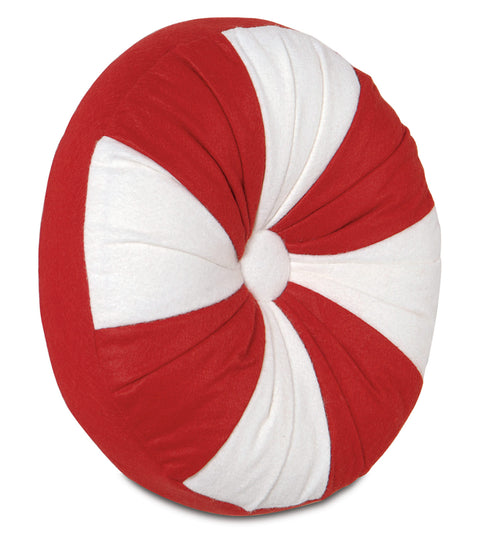 "Red Peppermint Decorative Round Pillow Cover 14""D x 2"""