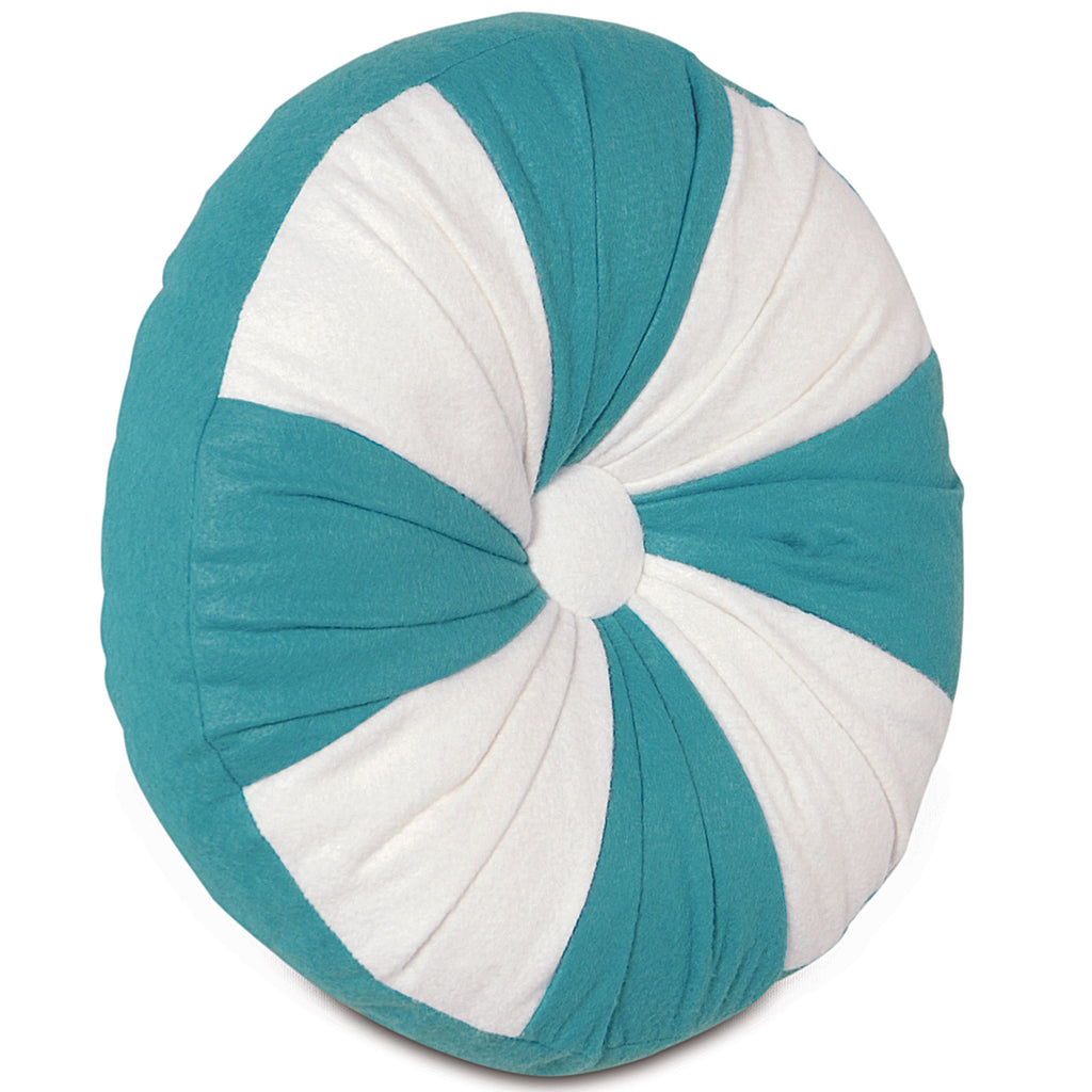 "Teal Starlight Peppermint Round Decorative Pillow Cover 14""D x 2"""