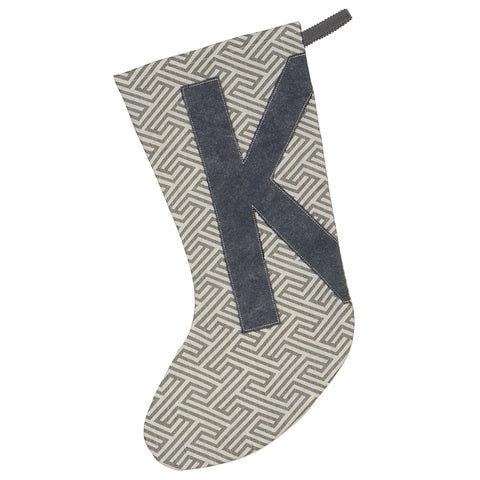 "Black Block Letter 'K' Stocking 20""x12"""