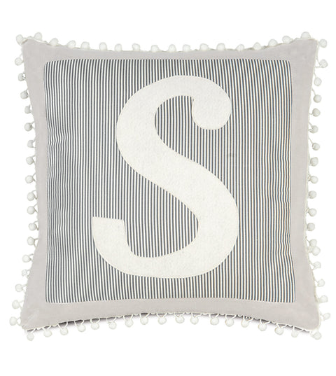 "Monogram Decorative Pillow Cover in 'S' - 18"" x 18"""