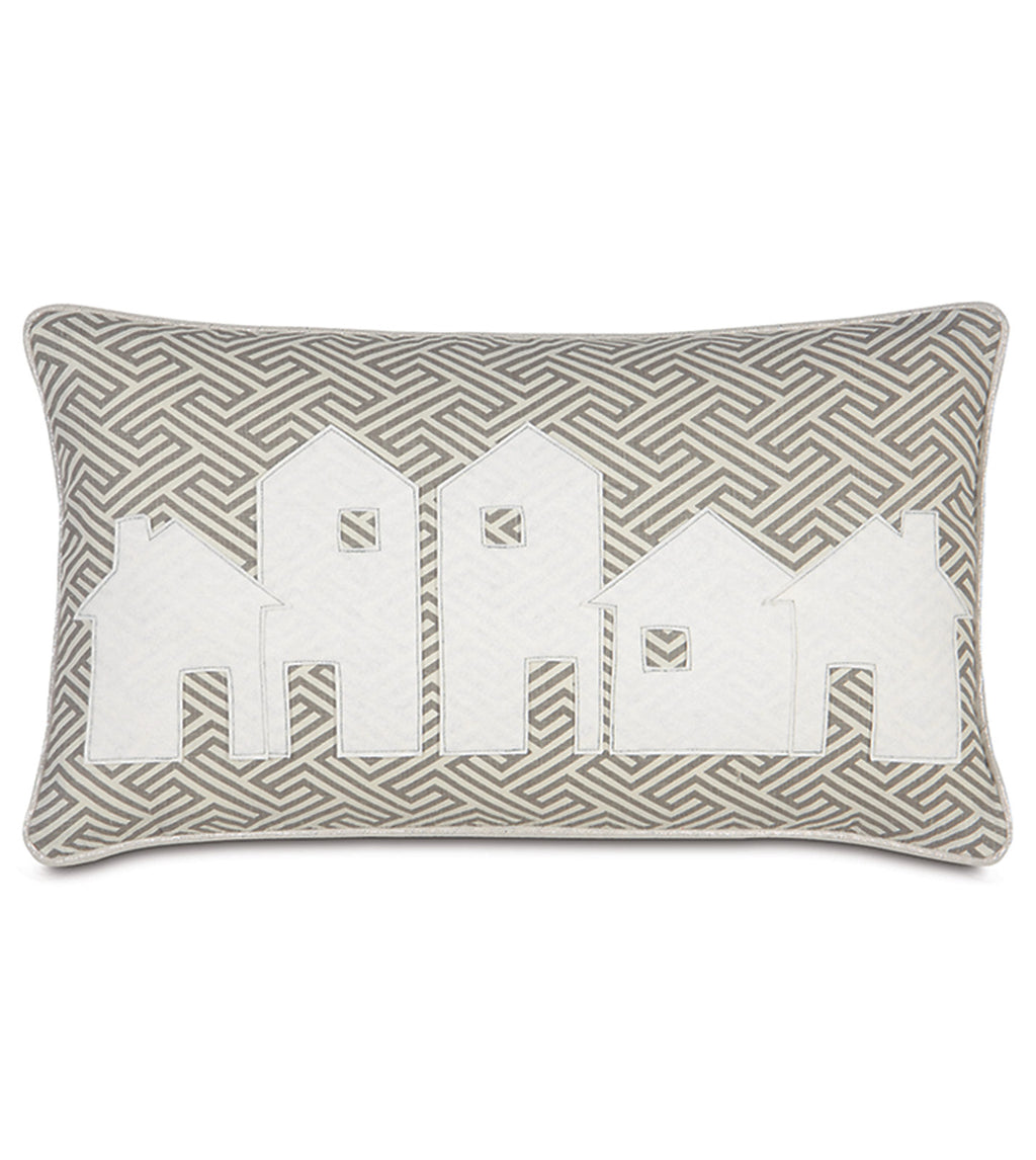 "Snow Covered Christmas Village Decorative Pillow Cover 13""x22"""