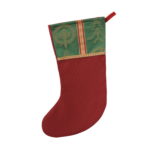 "Traditional Red and Green Textured Christmas Stocking 20""x12"""