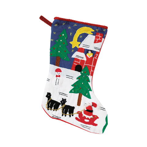 "Vintage Santa & Snowman Christmas Stocking in Red 18""x12"""