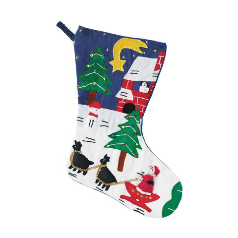 "Vintage Santa & Snowman Christmas Stocking in Blue 18""x12"""