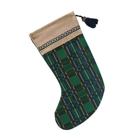 "Green and Blue Traditional Plaid Christmas Stocking with Cuff 20""x12"""