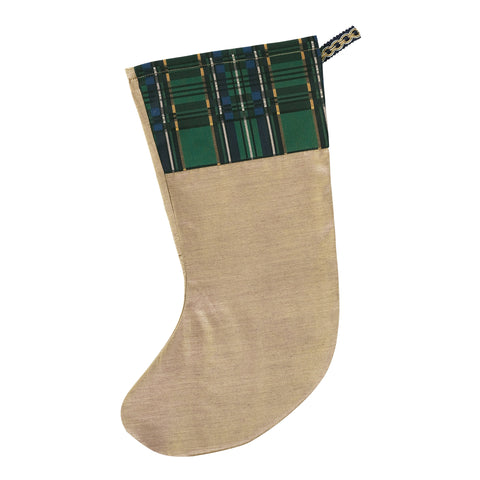 "Gold Traditional Christmas Stocking with Plaid Cuff 20""x12"""