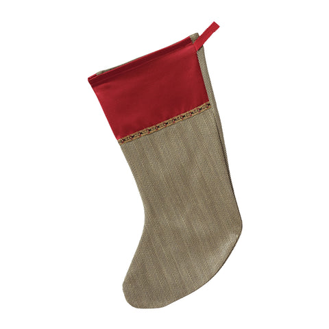 "Traditional Woven Herringbone Christmas Stocking with Cuff 20""x12"""