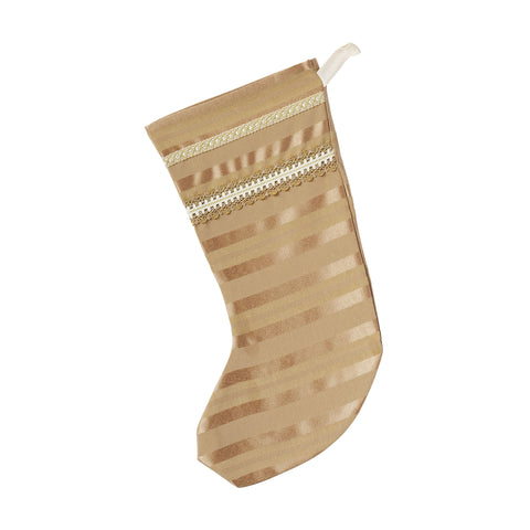 "Gold Luxe Striped Christmas Stocking 20""x12"""