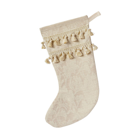 "Neutral Luxe Floral Christmas Stocking with Tassel Trim 20""x12"""