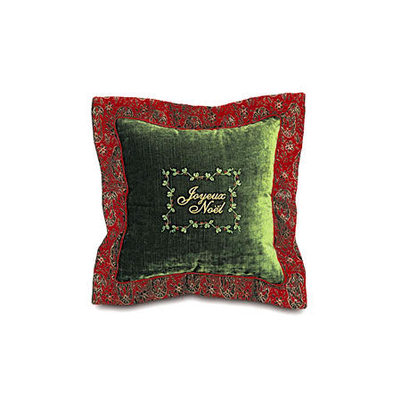 "Evergreen 'Joyeux Noel' Velvet Decorative Throw Pillow 18""x18"""