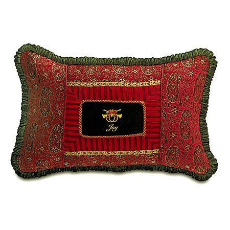 "Red Woven Holiday Embroidered Collage Pillow 16""x24"""