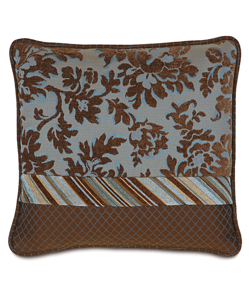 "15""x18"" Brockton Blue Brown Collage Luxury Pillow Cover"