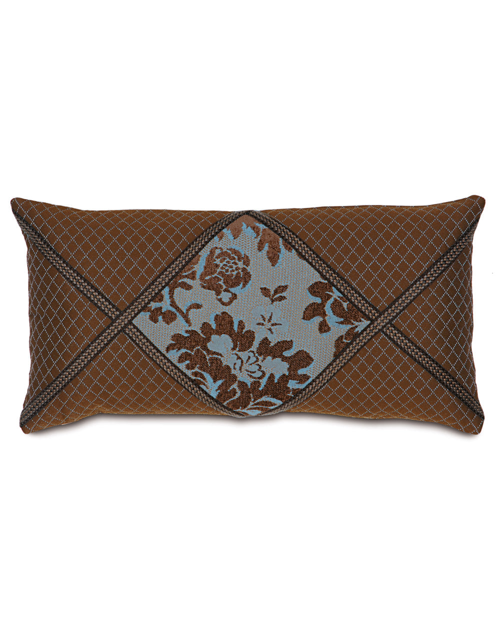 "12""x20"" Brockton Blue Brown Diamond Collage Luxury Pillow Cover"