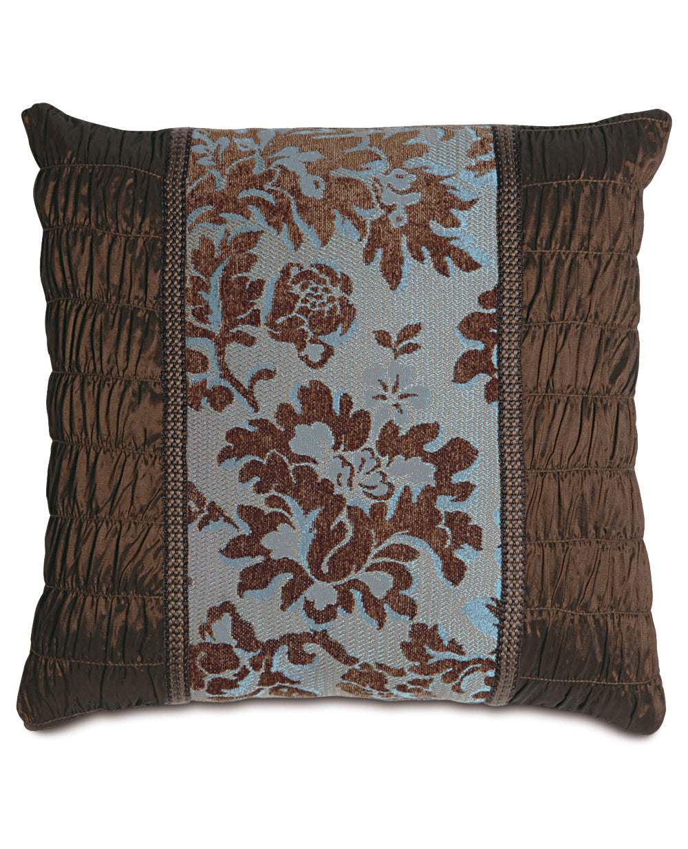 "16""x16"" Brockton Blue Brown Diamond Collage Luxury Pillow Cover"