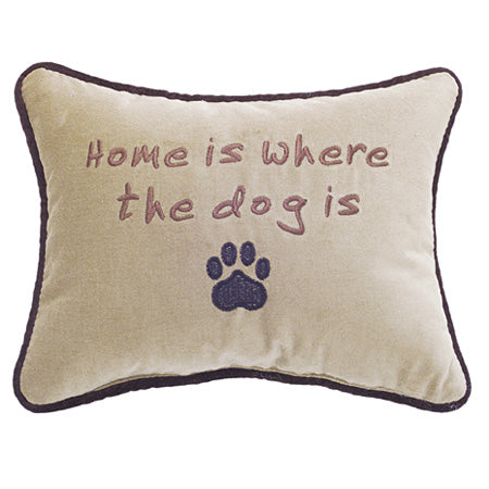 "Camel Velvet ""Home is where the Dog is"" Decorative Pillow 10""x13"""