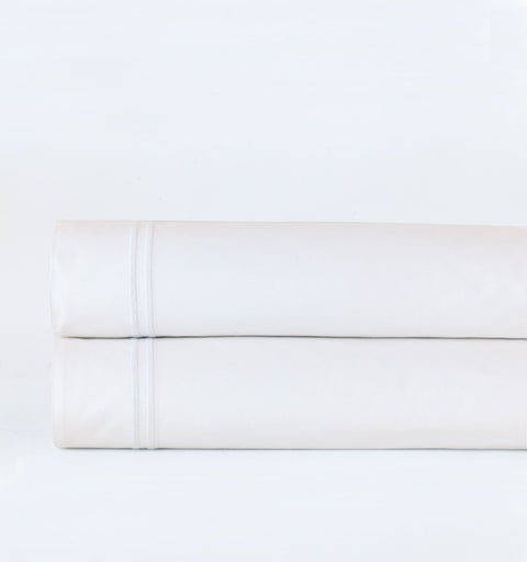 Lorraine White Embroidered Percale Flat Sheet