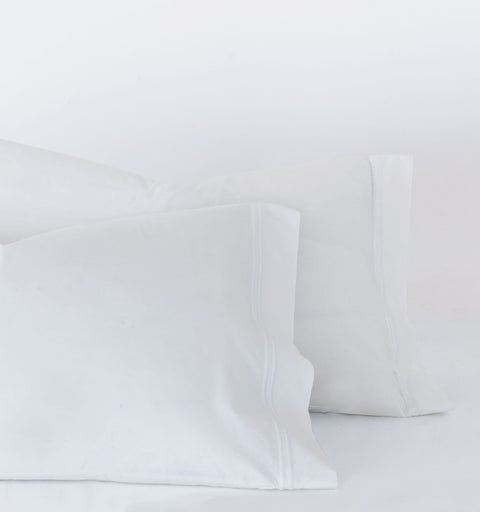 Lorraine White Embroidered Percale Pillowcase
