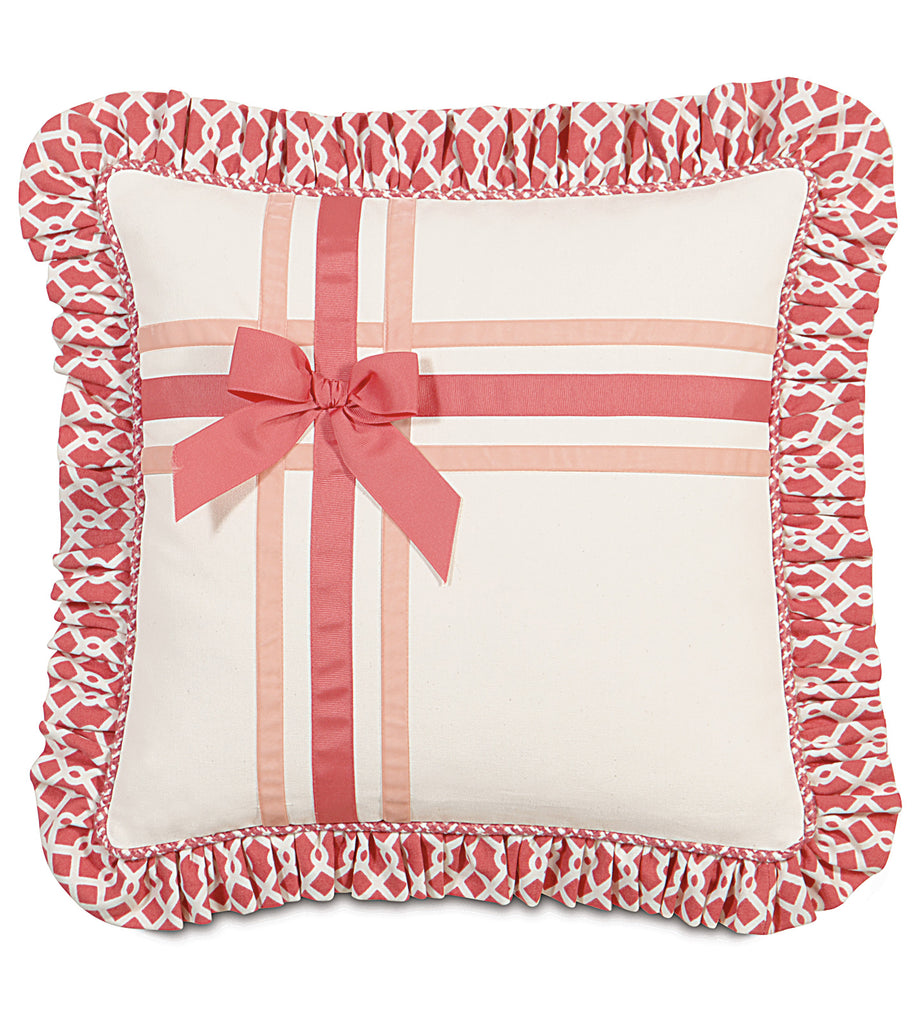 "16"" x 16"" Ribbon Ruffled Fringe Decorative Pillow Cover"