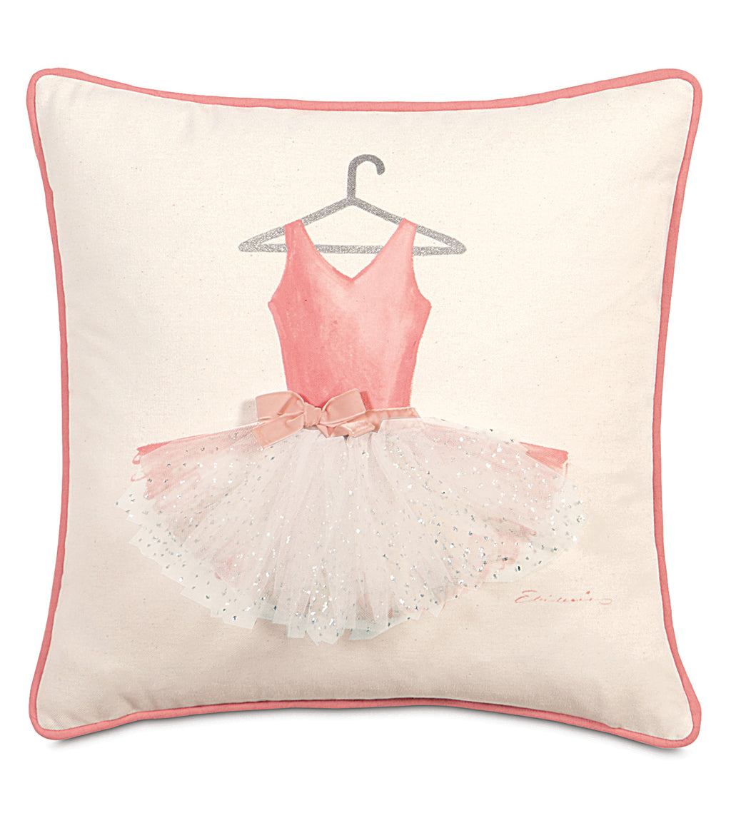 "18"" x 18"" Ballerina Hand Painted Decorative Pillow Cover"