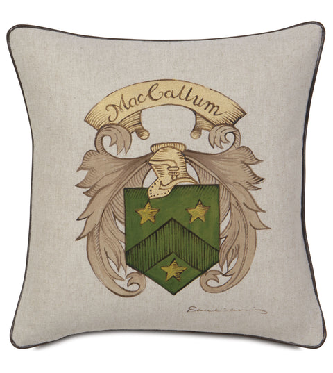 "Hand Painted Crest Decorative Pillow Cover 16"" x 16"""