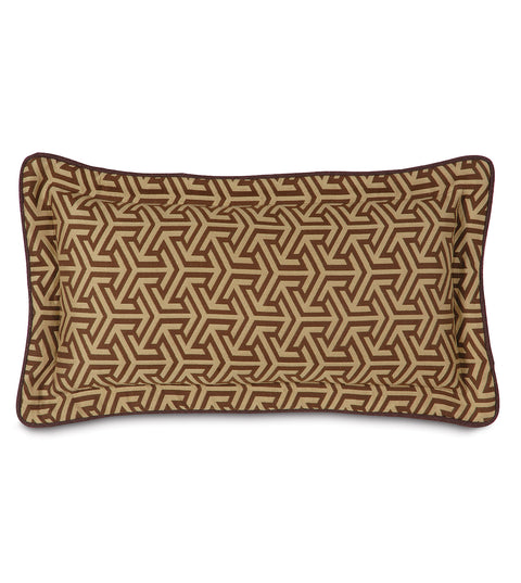 "Le Monde Graphic Weave Decorative Pillow in Brown 11"" x 21"""