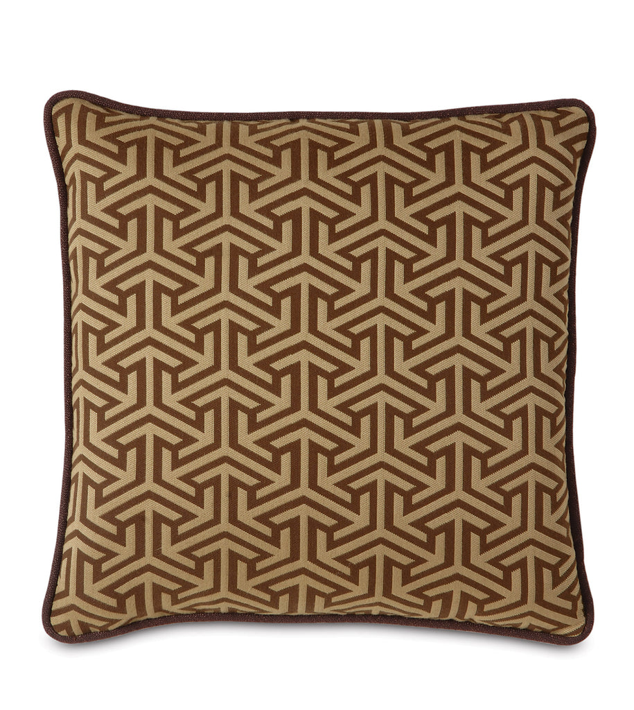 "Le Monde Graphic Weave Decorative Pillow in Brown 18"" x 18"""