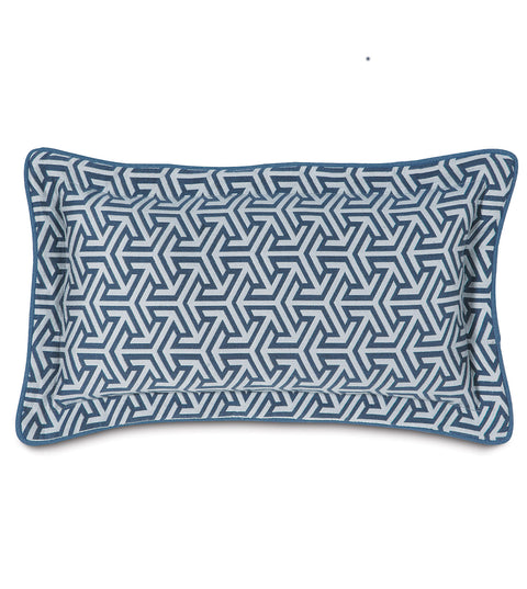 "Le Monde Graphic Weave Decorative Pillow in Blue 11"" x 21"""