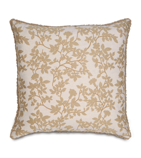"Leandros Beige Botanical Design w/ Cord Pillow Cover 20"" x 20"""