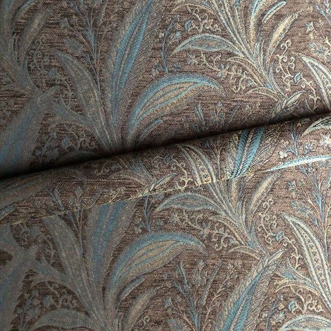 Blue and Brown Traditional Botanical Jacquard Upholstery Fabric 54""