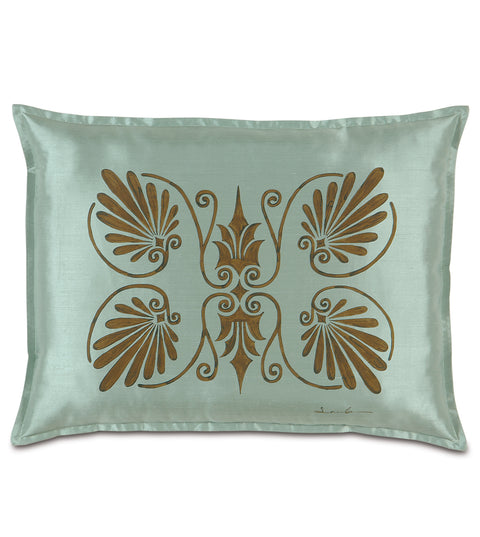 "20"" x 27"" Anthemion Handpainted Teal Silk Standard Sham Pillow Cover"