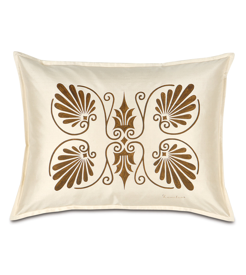 "20"" x 27"" Anthemion Handpainted Ivory Silk Standard Sham Pillow Cover"