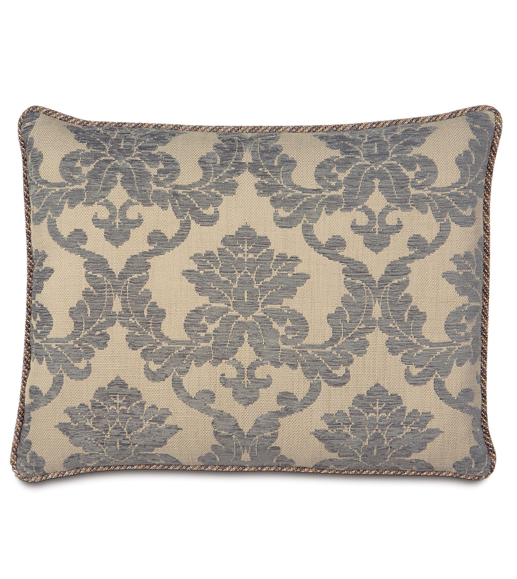 "20""x27"" Lancaster Gray Glam Damask Standard Sham Pillow Cover"