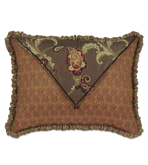 "Amelie Red and Brown Floral Luxury Standard Sham 20""x 27"""