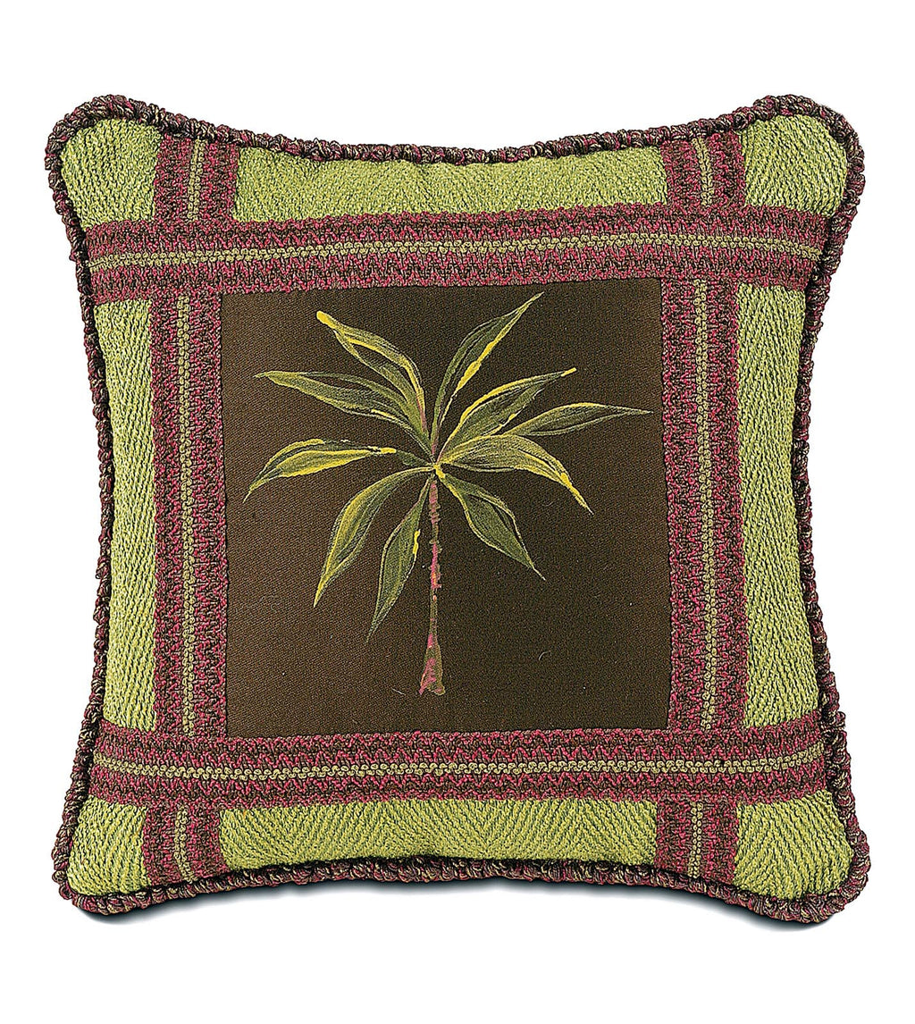 "Tahiti Handpainted Mitered Tropical Decorative Pillow Cover 16""x16"""