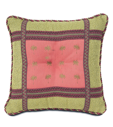 "Coral Tahiti Palm Tree Outdoor Pillow Cover 16""x16"""