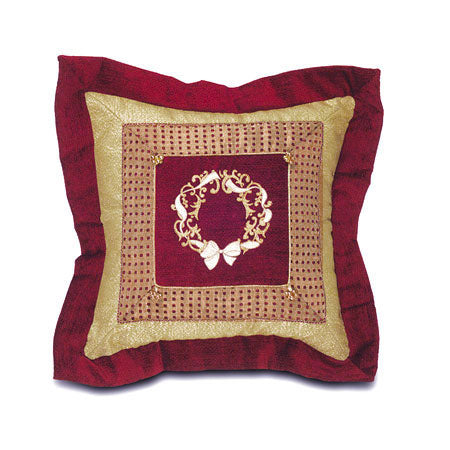 Christmas Wreath Border Collage Throw Pillow 20x20