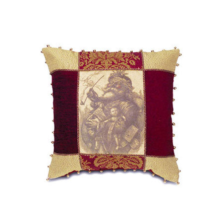 'Santa's Arrival' Vintage Decorative Pillow Cover with Bell Trim 18x18
