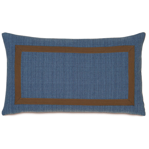 "13""x22"" Mitered Blue and Brown Reversible Luxury Decorative Pillow Cover"