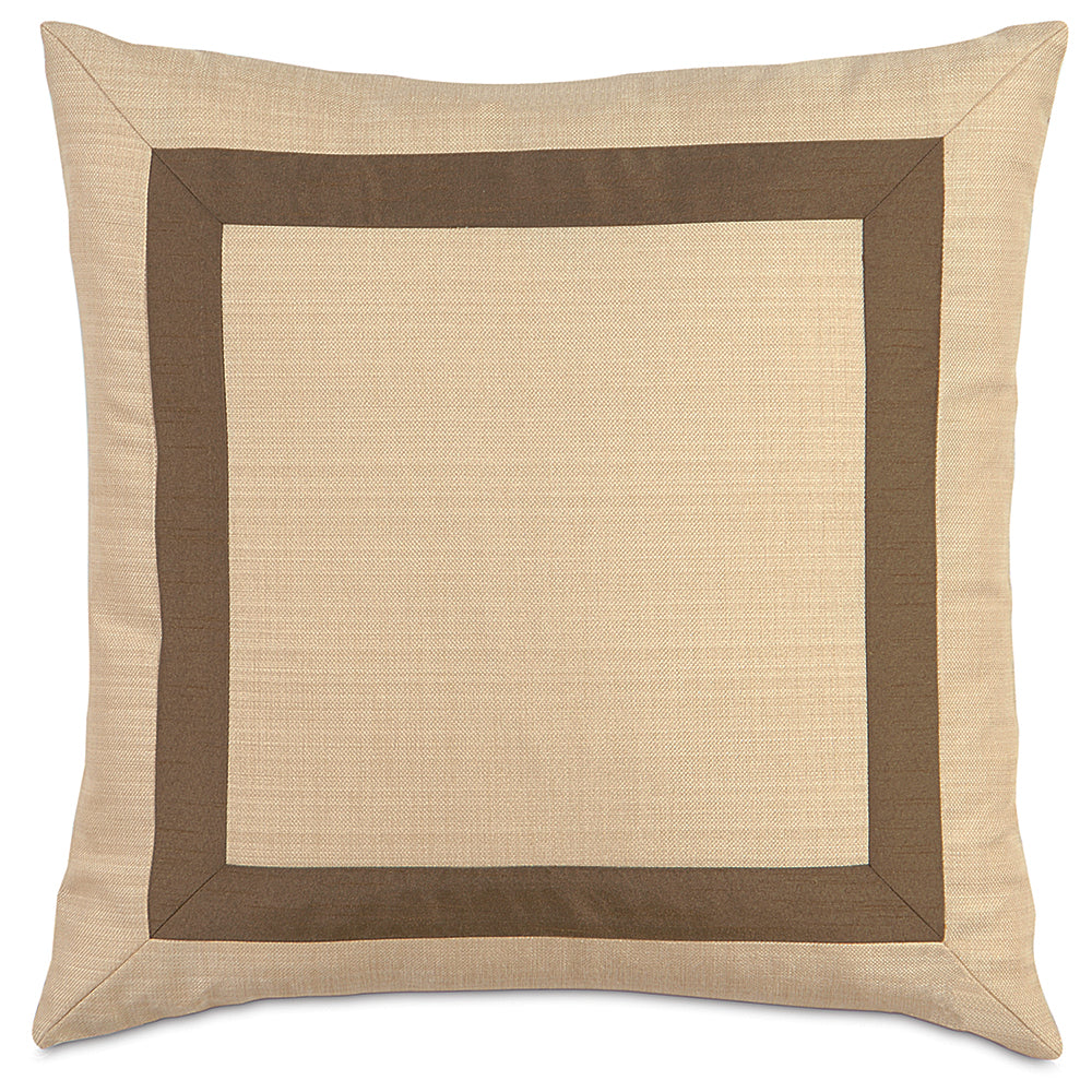 "20""x20"" Gold and Brown Mitered Decorative Pillow Cover"