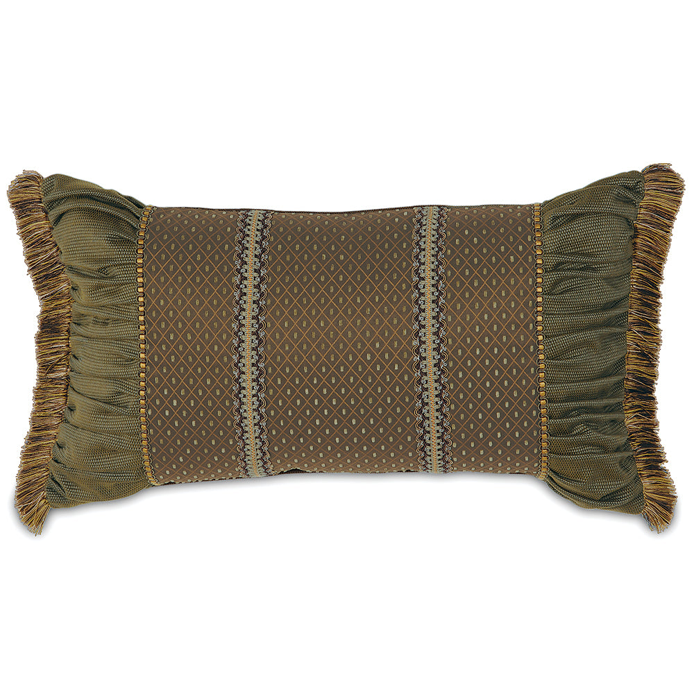 "15""x26"" Embellished Ruched Rust and Olive Pieced Luxury Decorative Pillow Cover"