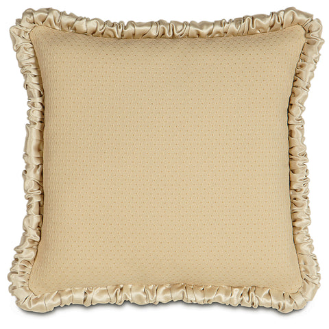 "16"" x 16"" Ruched Welt Gold Luxury Woven Decorative Pillow Cover"