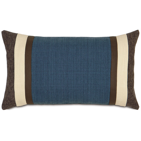 "13""x22"" Blue and Brown Pieced Luxury Decorative Pillow Cover"