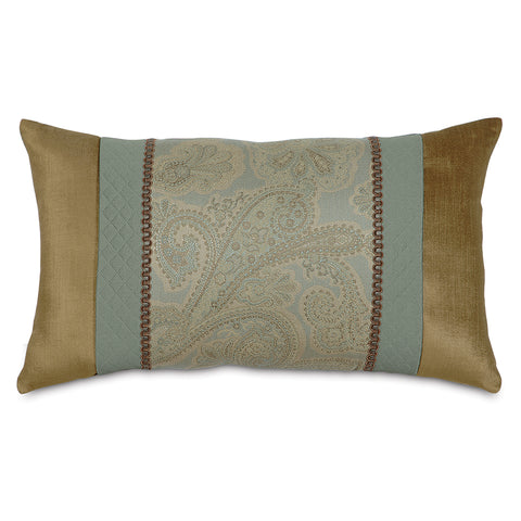 "13""x22"" Teal and Gold Pieced Luxury Decorative Pillow Cover"