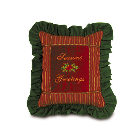 "'Season's Greetings' Decorative Throw Pillow 18""x15"""